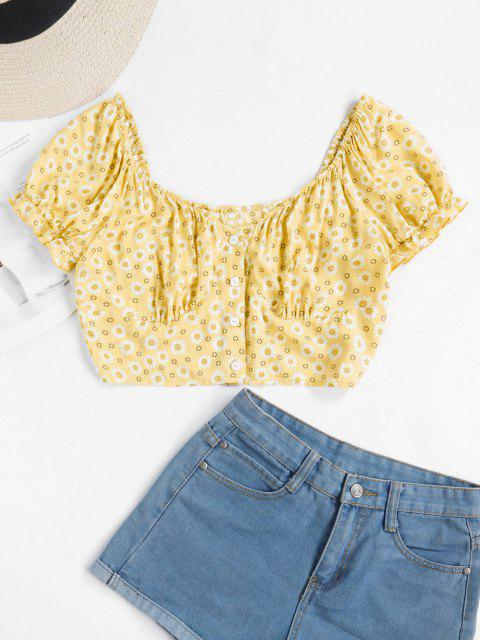 fancy ZAFUL Tiny Floral Crop Milkmaid Blouse - YELLOW L Mobile