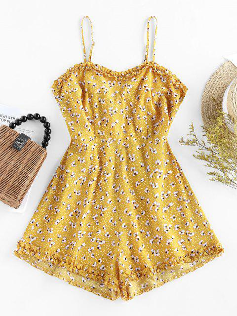 sale ZAFUL Ditsy Print Tie Back Lettuce Trim Romper - GOLDENROD S Mobile