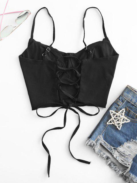 best Ruched Lace-up Bustier Cami Top - BLACK S Mobile