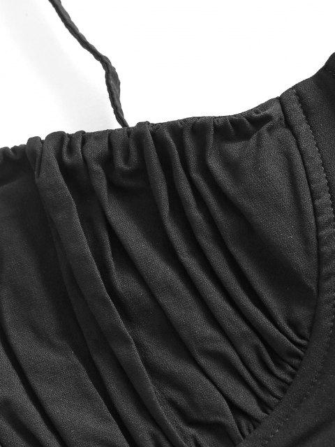 affordable Ruched Lace-up Bustier Cami Top - BLACK L Mobile