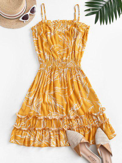 Leaf Print Crinkly Frilled Bandeau Dress - Yellow M