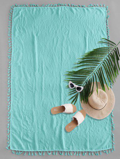 Semi-sheer Rectangle Tassel Sunbath Beach Throw Cover - Medium Turquoise