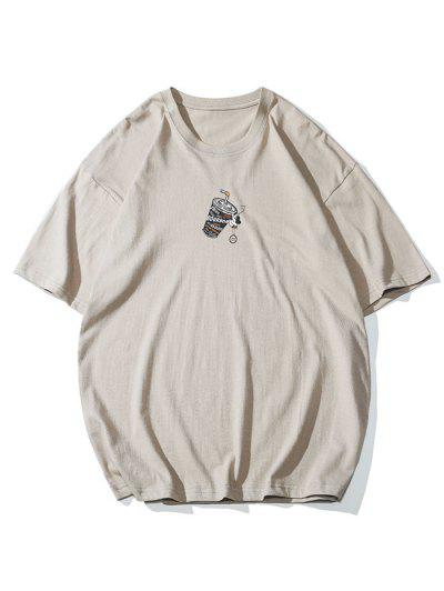 Drink Graphic Print Basic T-shirt - Dark Gray M