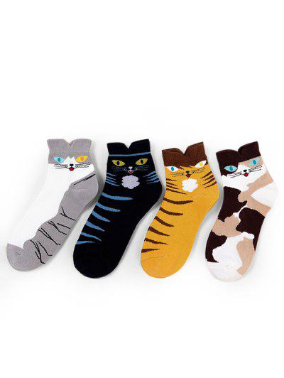 4Pairs Cat Print Ankle Socks Set
