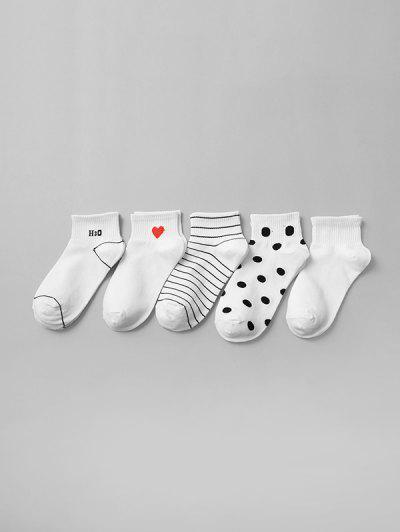 5Pairs Striped Pattern Socks Set