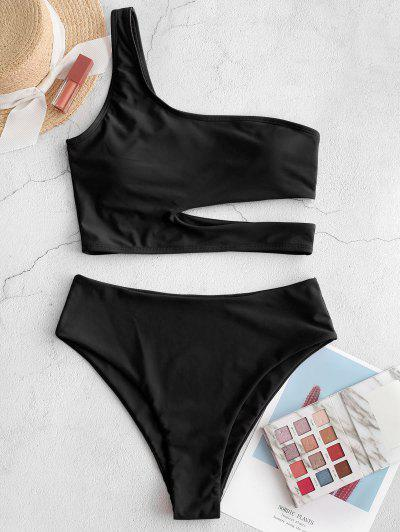ZAFUL Neon Skew Collar High Cut Cutout Tankini Swimsuit - Black L