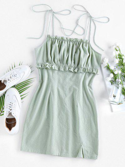 ZAFUL Ruched Ruffle Slit Tie Shoulder Dress - Light Green S