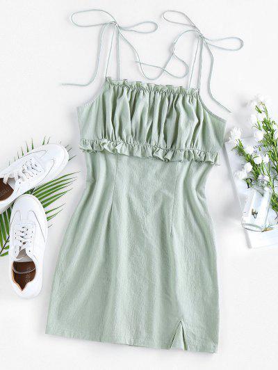ZAFUL Vestido Con Volantes Y Hombro Con Lazo - Verde Claro S