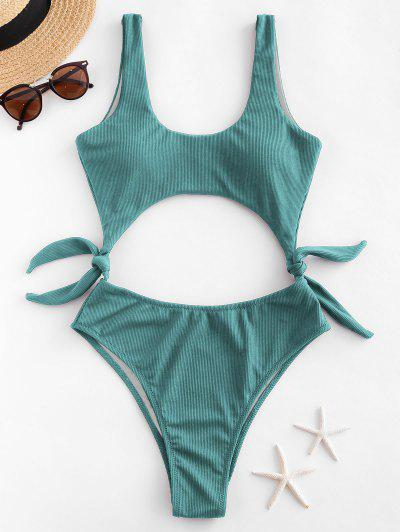 ZAFUL Side Knot Cutout Ribbed One-piece Swimsuit - Sea Turtle Green S