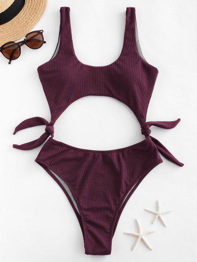 ZAFUL Side Knot Cutout Ribbed One-piece Swimsuit - Velvet Maroon M