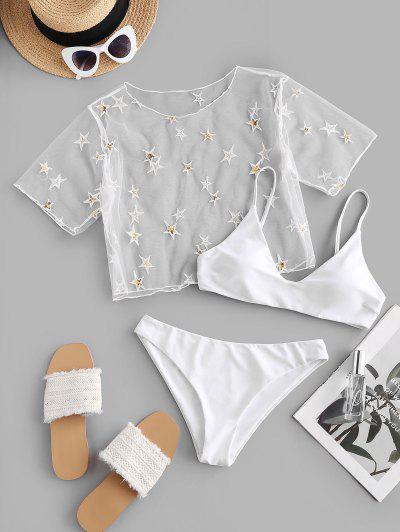 ZAFUL Sequined Star Mesh Low Waisted Three Pieces Bikini Swimwear - White L