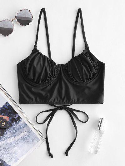 ZAFUL Ruched Underwire Bustier Bikini Top - Black L