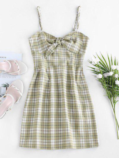ZAFUL Plaid Tie Front Cami Dress - Light Green S