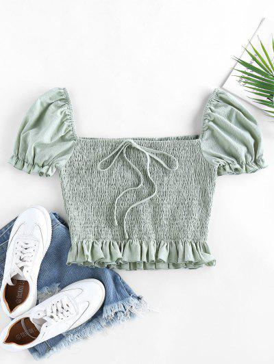 ZAFUL Smocked Bowknot Puff Sleeve Ruffle Blouse - Light Green S