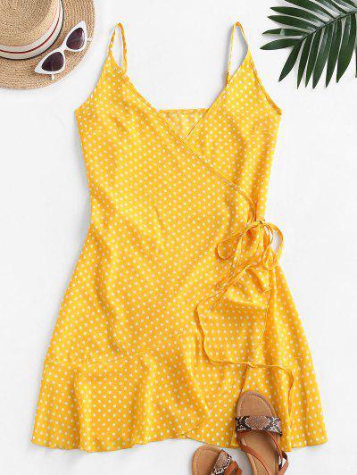 Polka Dot Spaghetti Strap Wrap Dress - Yellow M