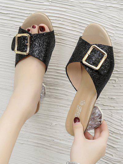 Glitter Sequins Buckled Clear Heel Slides - Black Eu 39