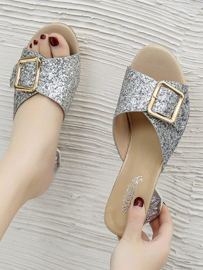 Glitter Sequins Buckled Clear Heel Slides - Silver Eu 38