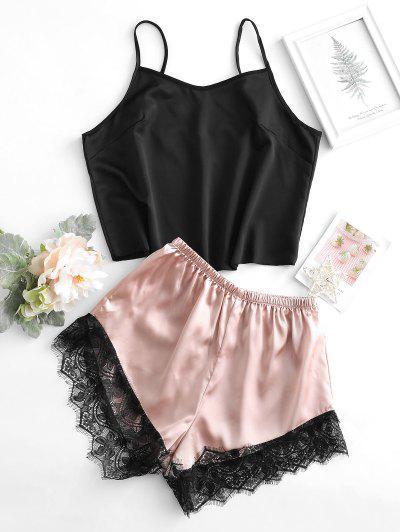 Conjunto De Pijama Sedoso Con Encaje - Negro L