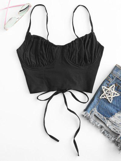 Ruched Lace-up Bustier Cami Top - Black M