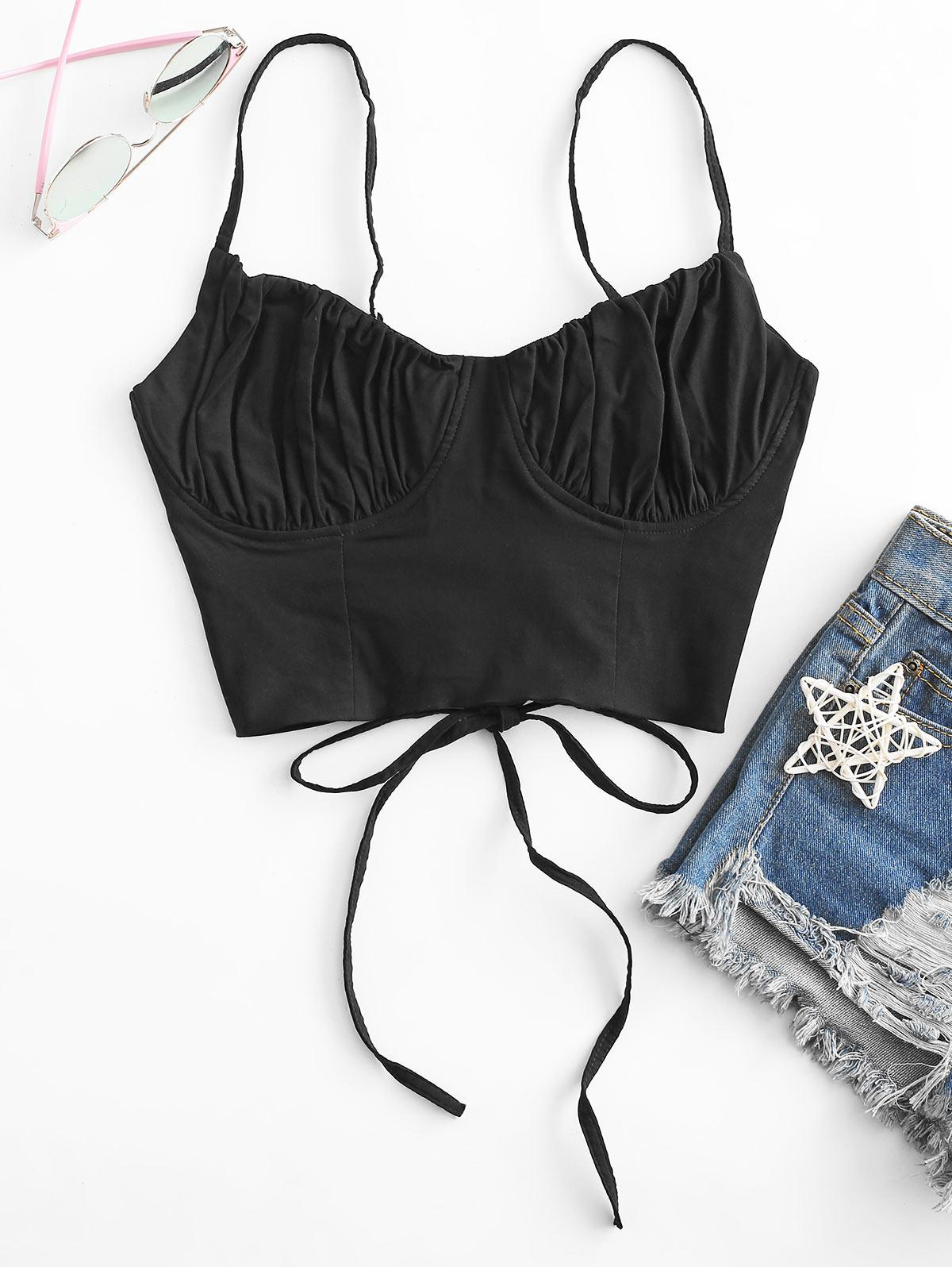 Ruched Lace-up Cami Top