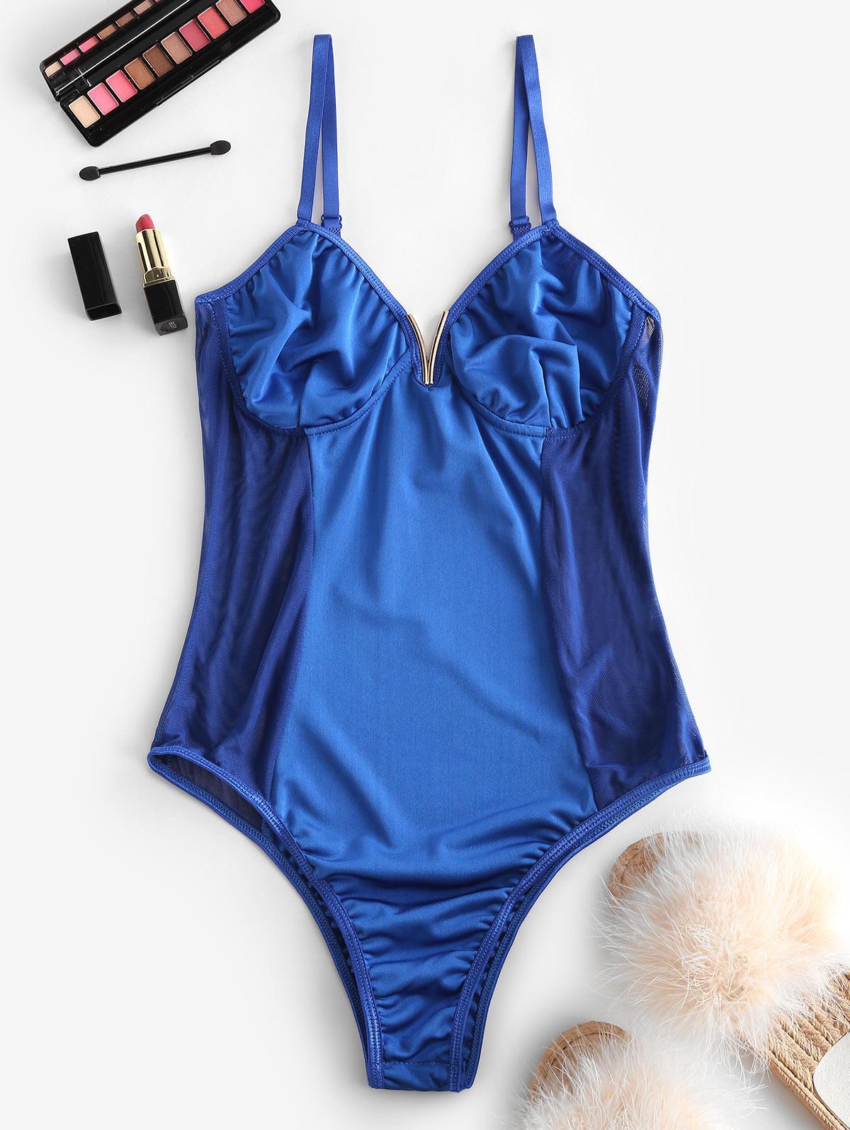 V-notch Mesh Panel Bustier Bodysuit