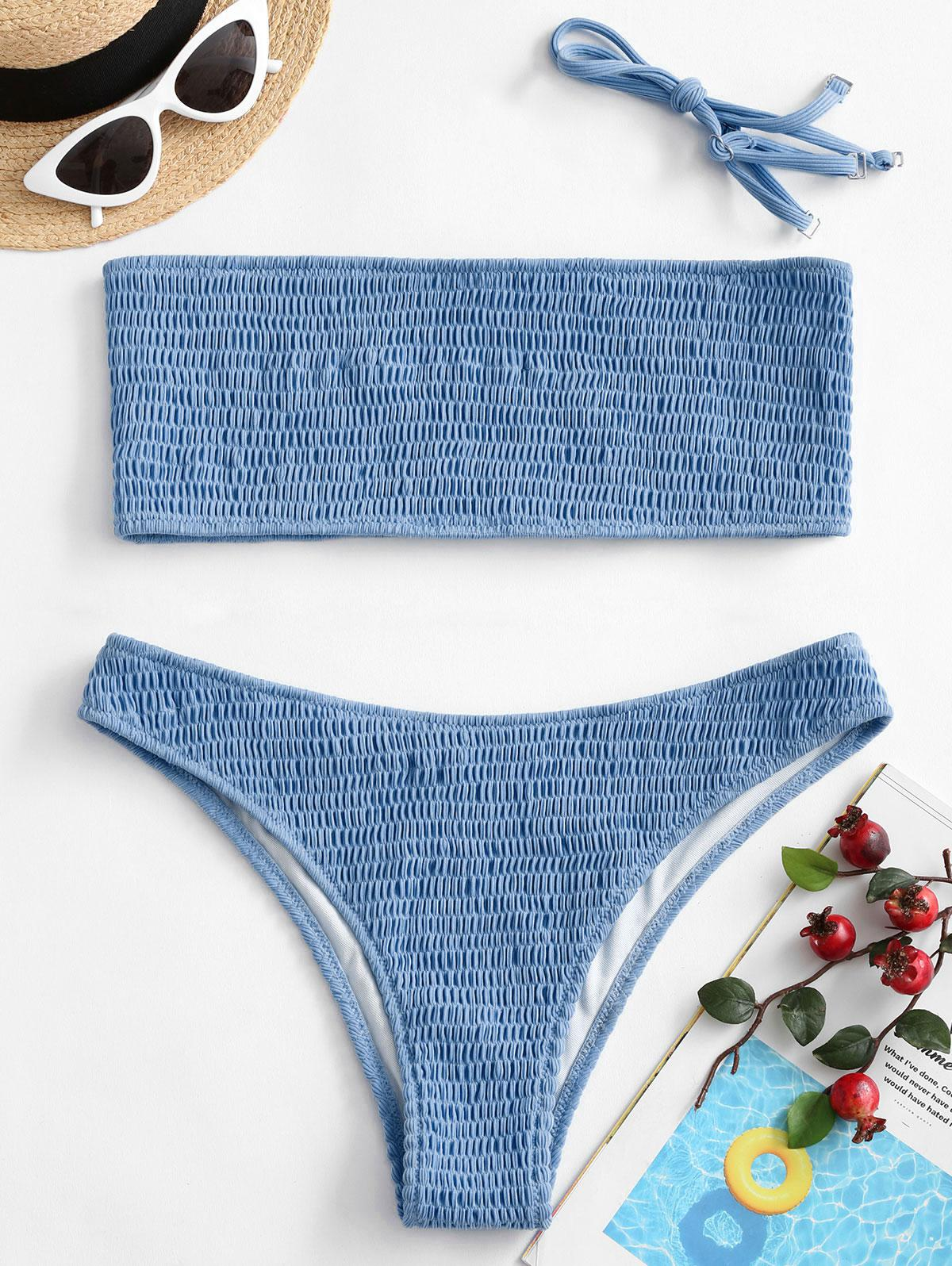 ZAFUL Smocked Bandeau Bikini Swimsuit thumbnail