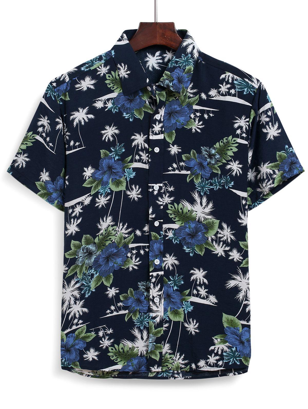 Hawaiian Floral Coconut Tree Printed Shirt thumbnail