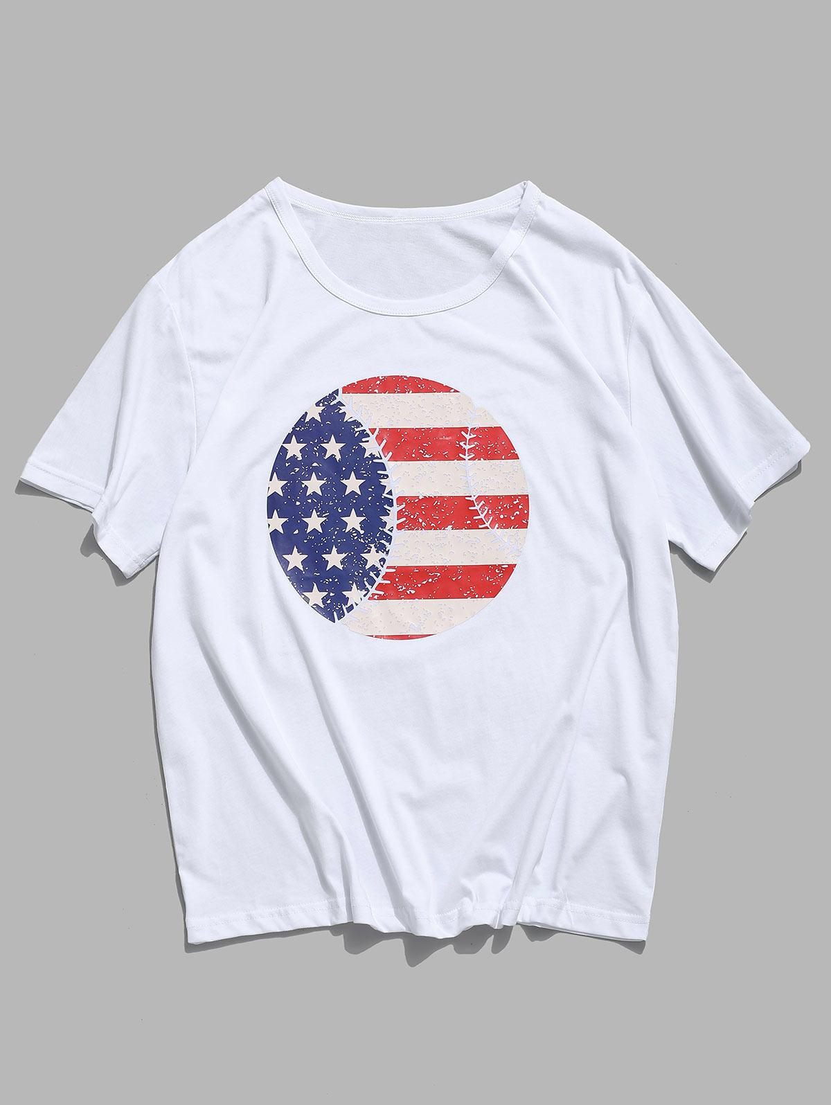 American Flag Round Graphic Lounge Short Sleeve Tee thumbnail