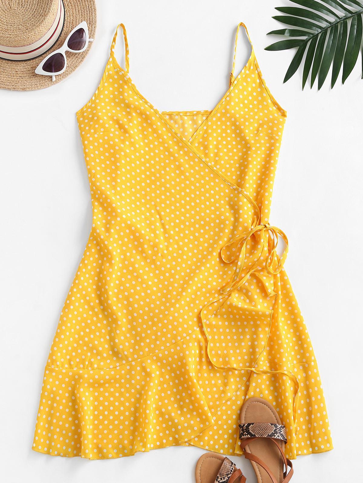 Polka Dot Spaghetti Strap Wrap Dress