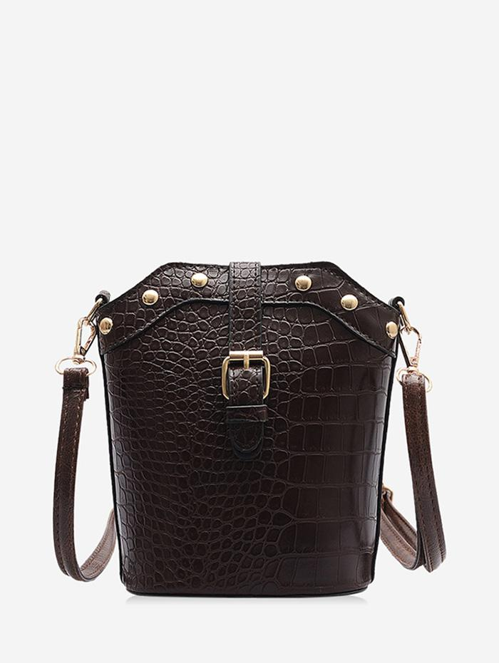 Animal Embossed Buckled Leather Bucket Bag