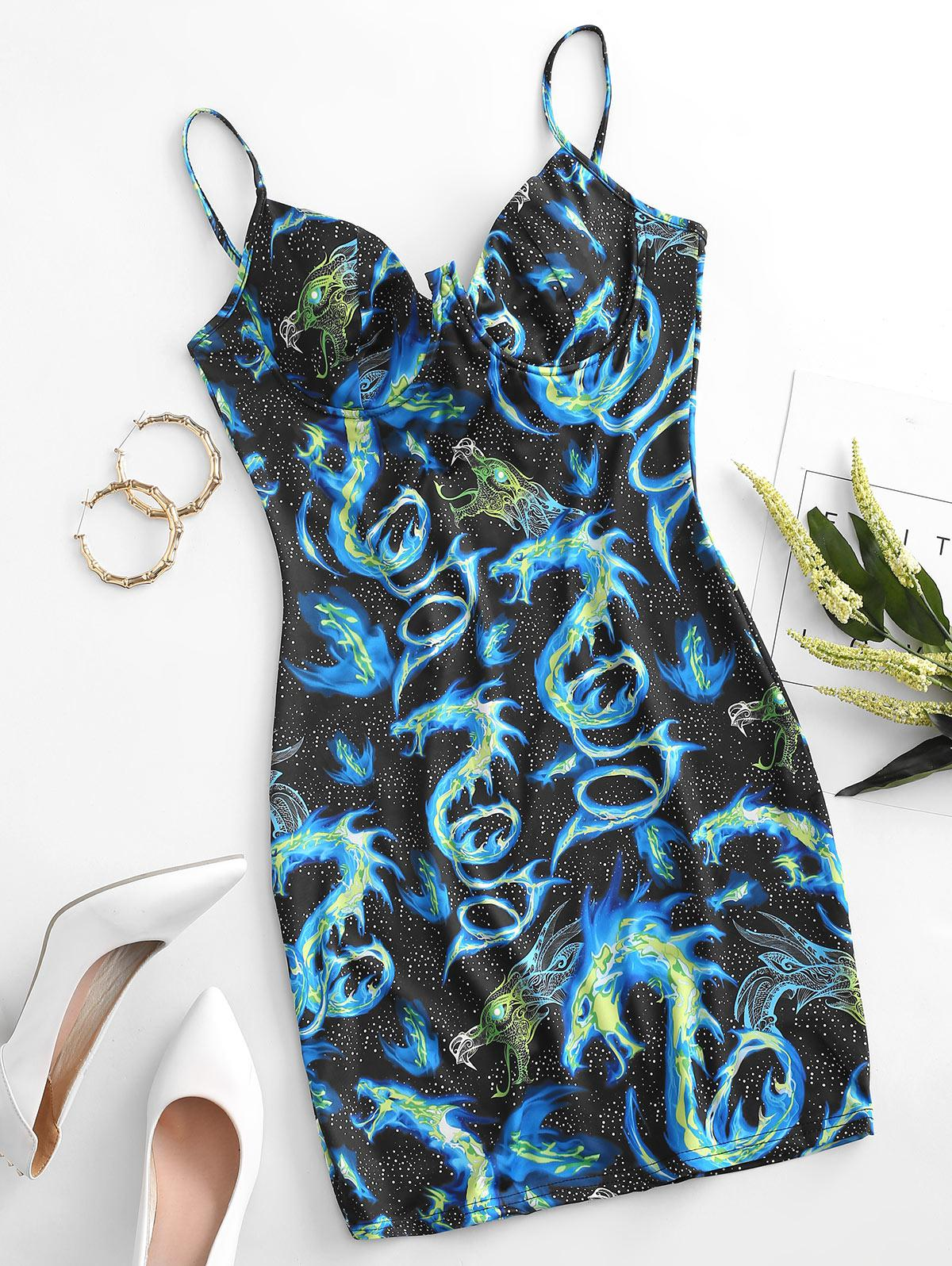 Dragon Print Underwire Bodycon Dress