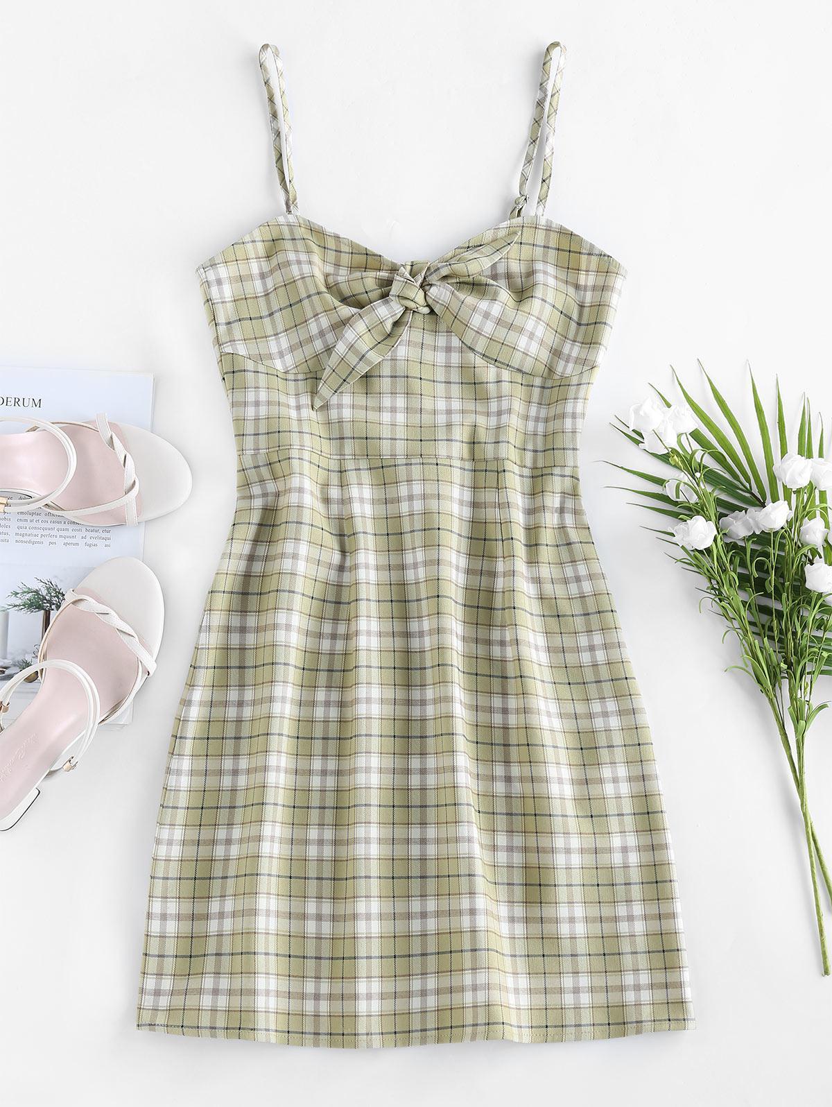 ZAFUL Plaid Tie Front Cami Dress