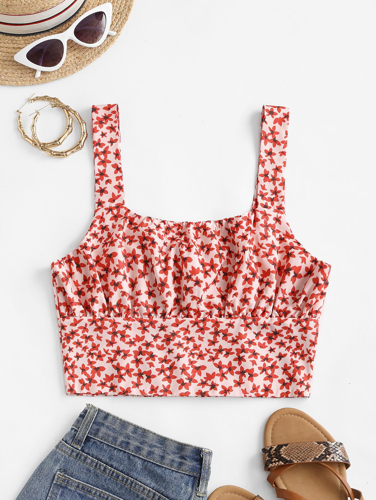 Smocked Back Ditsy Floral Cropped Tank Top