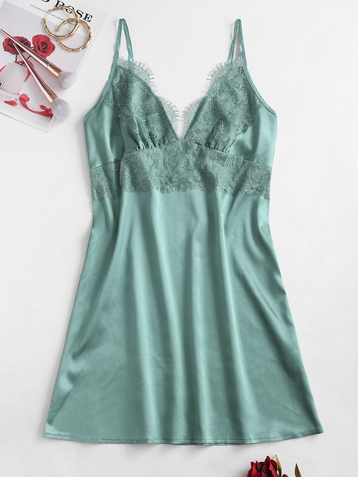 Cami Eyelash Lace Panel Satin Sleep Dress