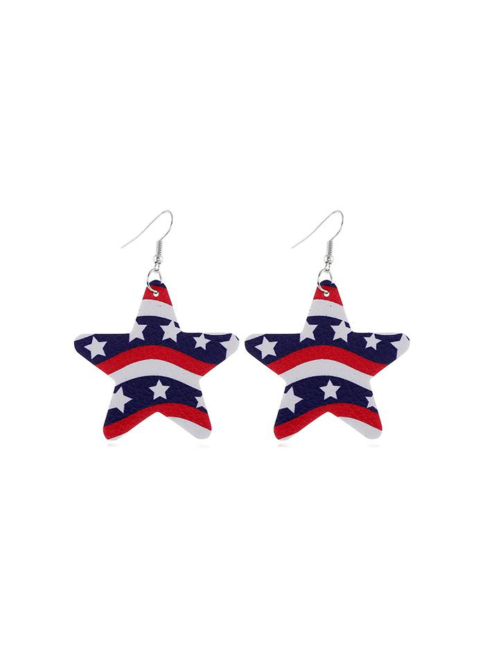 Star Flag Pattern Drop Earrings thumbnail