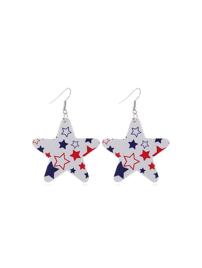 Star Flag Pattern Drop Earrings