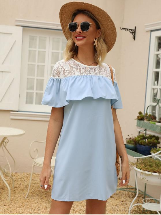 lady Lace Insert Flounce Overlay Tunic Dress - CRYSTAL BLUE M