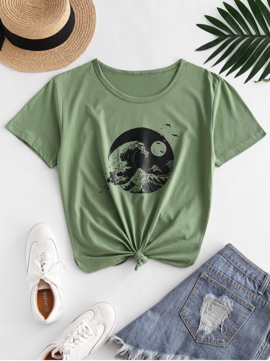 T-shirt de Manga Curta de Impressão de Onda de Redonda - Verde de Cebola  XL