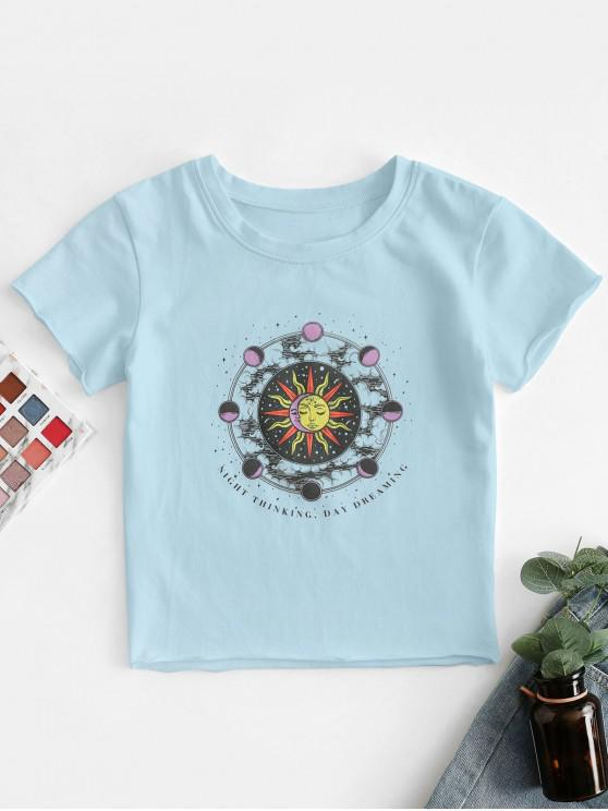 fancy Sun and Moon Letter Print Crop Tee - LIGHT BLUE S
