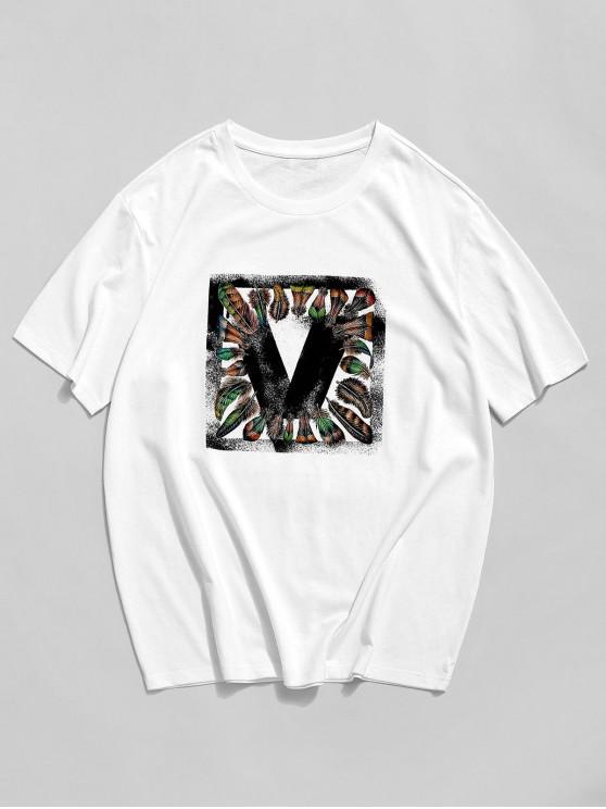 ZAFUL Feather Graphic Print Basic T-shirt - أبيض XL