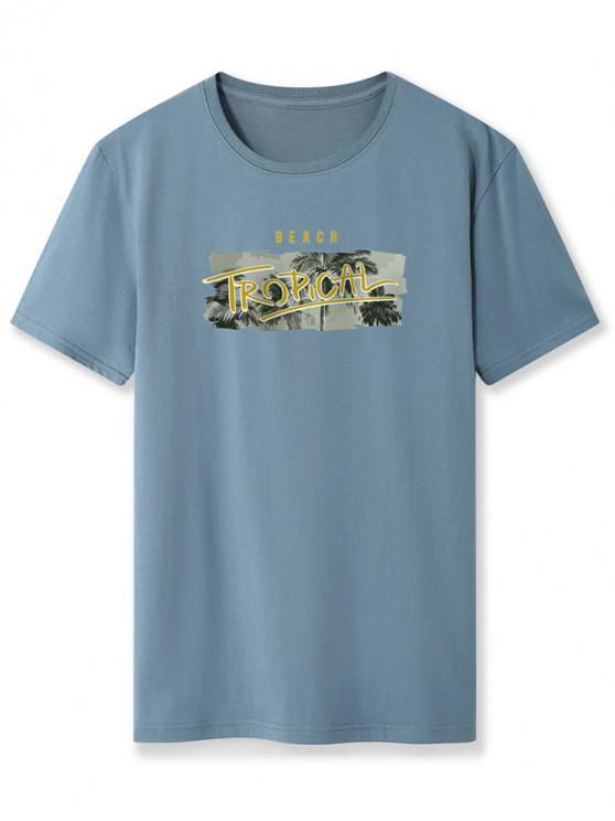 Camiseta Básica con Estampado de Palma con Mangas Cortas - Azul de Seda XL