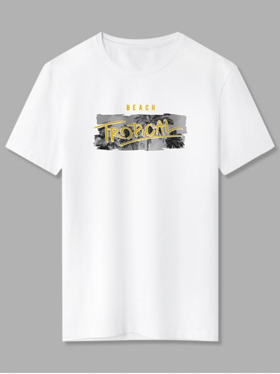 Beach Tropical Palm Tree Basic T-shirt - أبيض 2XL