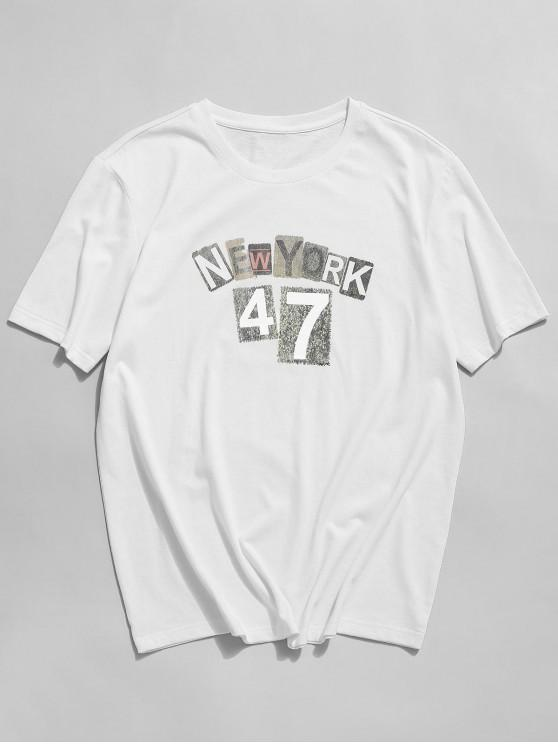 ZAFUL New York Graphic Basic T-shirt - أبيض 2XL