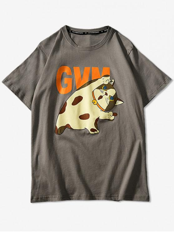 Cartoon Cat Print Basic T-shirt - كاكي 4XL
