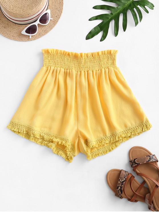 new Tassel Smocked High Waisted Shorts - YELLOW XL