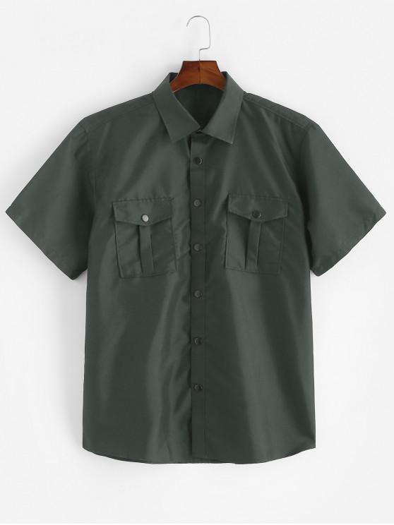 sale Plain Flap Pockets Short Sleeve Cargo Shirt - ARMY GREEN 2XL