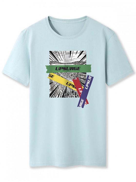Upsurge Graphic Print Basic Tee - ازرق رمادي XL