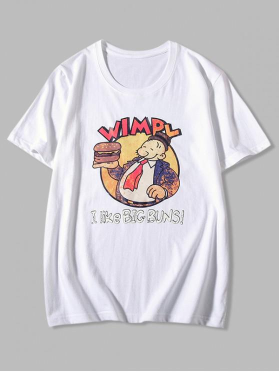 women's Big Buns Cartoon Graphic Print Basic T-shirt - WHITE XL