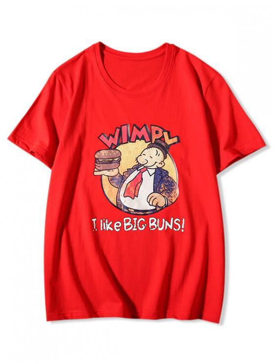 new Big Buns Cartoon Graphic Print Basic T-shirt - RED XL
