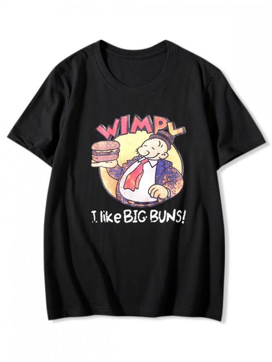 shops Big Buns Cartoon Graphic Print Basic T-shirt - BLACK XL